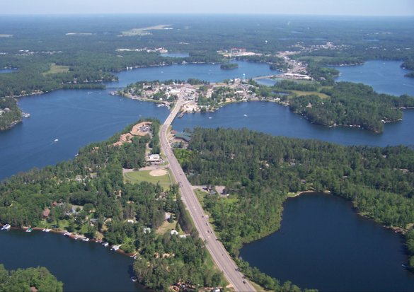 Aerial view of the Town of Minocqua, WI - The Island City